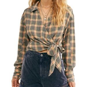We The Free People Running Wild Wrap Top Plaid
